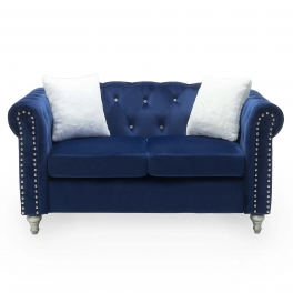 Canapé 2 places capitonné chesterfield en velours bleu GARRY