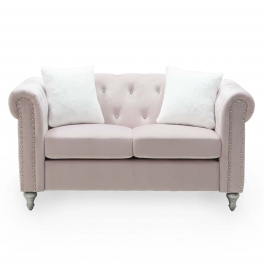 Canapé 2 places capitonné chesterfield en velours rose GARRY