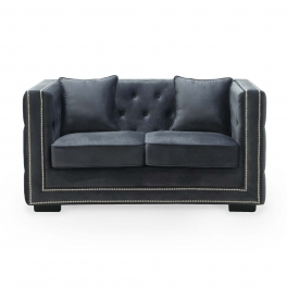 Canapé 2 places capitonné chesterfield design en velours gris CUBE