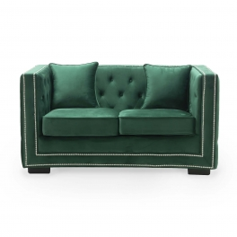 Canapé 2 places capitonné chesterfield design en velours vert CUBE