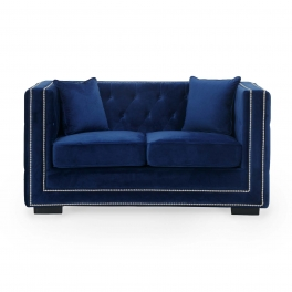 Canapé 2 places capitonné chesterfield design en velours bleu CUBE