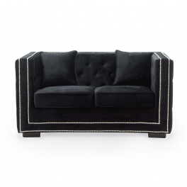 Canapé 2 places capitonné chesterfield design en velours noir CUBE