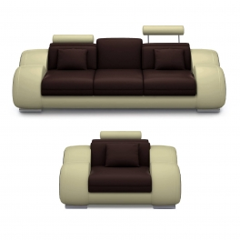 Ensemble cuir relax OSLO 3+1 places marron et beige