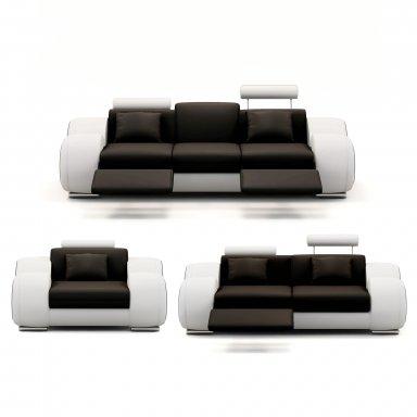 Ensemble cuir relax OSLO 3+2+1 places noir et blanc