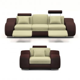 Ensemble cuir relax OSLO 3+1 places beige et marron