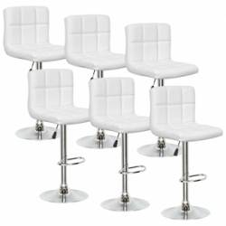Lot de 6 tabourets de bar blanc SCALO