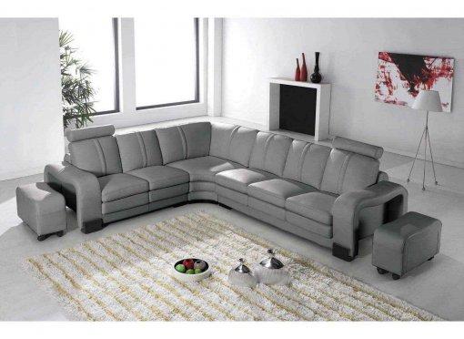 Canapé d'angle en cuir gris avec appuie tête relax HAVANE (angle gauche)