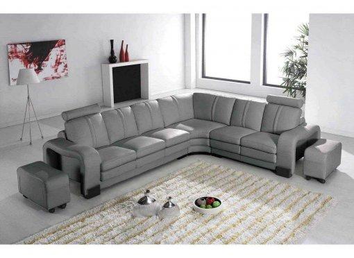 Canapé d'angle relax cuir gris HAVANE - Angle Droit