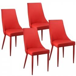 Lot de 4 chaises rouge AVEV