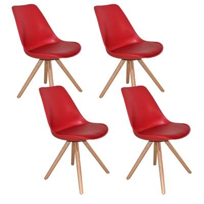 Lot de 4 chaises design rouge VELTA