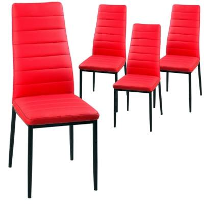 LOT DE 4 CHAISES ROUGE IRIS
