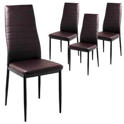 LOT DE 4 CHAISES MARRON IRIS