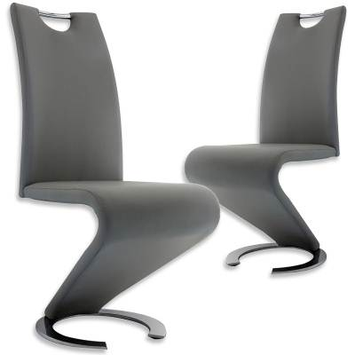 Lot de 2 chaises design gris HUGO