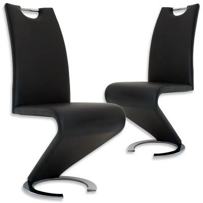 Lot de 2 chaises design noir HUGO