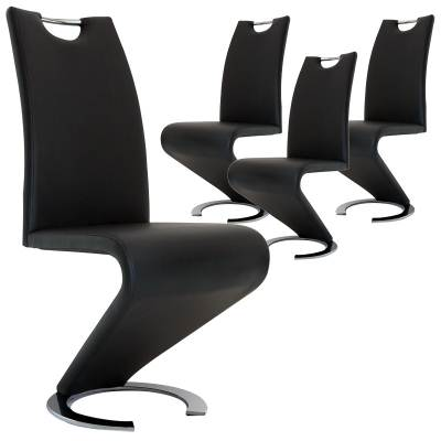 Lot de 4 chaises design noir HUGO