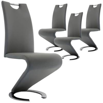 Lot de 4 chaises design gris HUGO