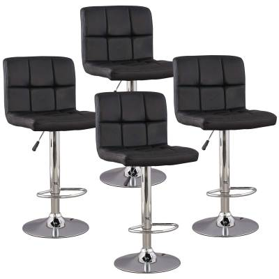 Lot de 4 tabourets de bar noir SCALO