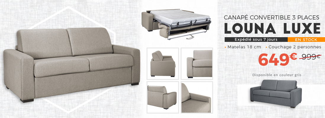 CANAPE CONVERTIBLE 3 PLACES LOUNA LUXE