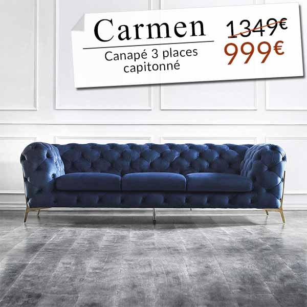 CANAPÉ 3 PLACES CAPITONNÉ CHESTERFIELD VELOURS BLEU CARMEN