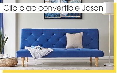 BANQUETTE CLIC-CLAC CONVERTIBLE EN VELOURS BLEU 3 PLACES JASON