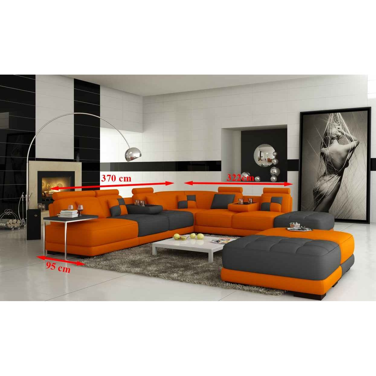 deco in paris 2 canape panoramique en cuir orange et gris design malaga malaga orangegris. Black Bedroom Furniture Sets. Home Design Ideas