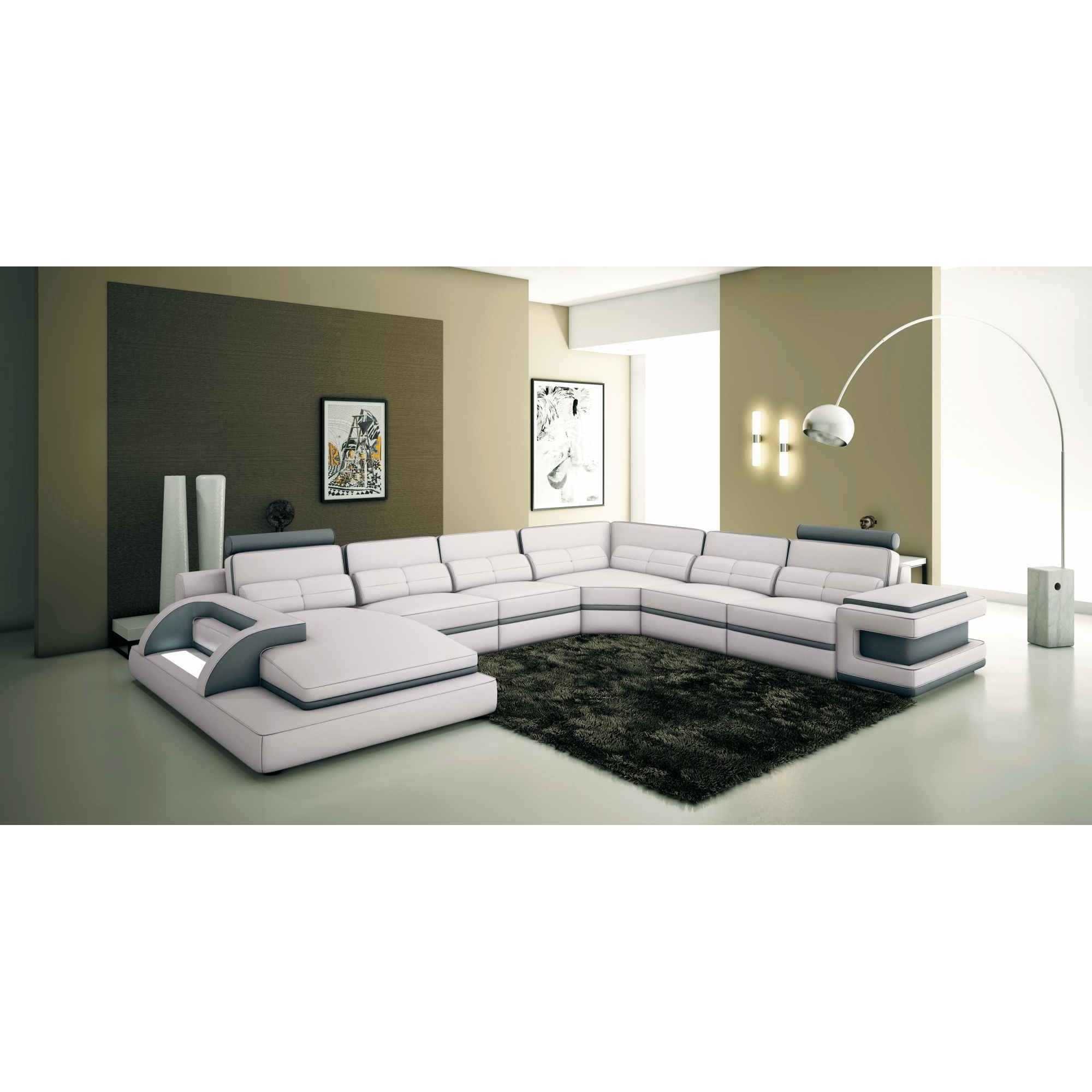 deco in paris 5 canape panoramique cuir blanc et gris. Black Bedroom Furniture Sets. Home Design Ideas