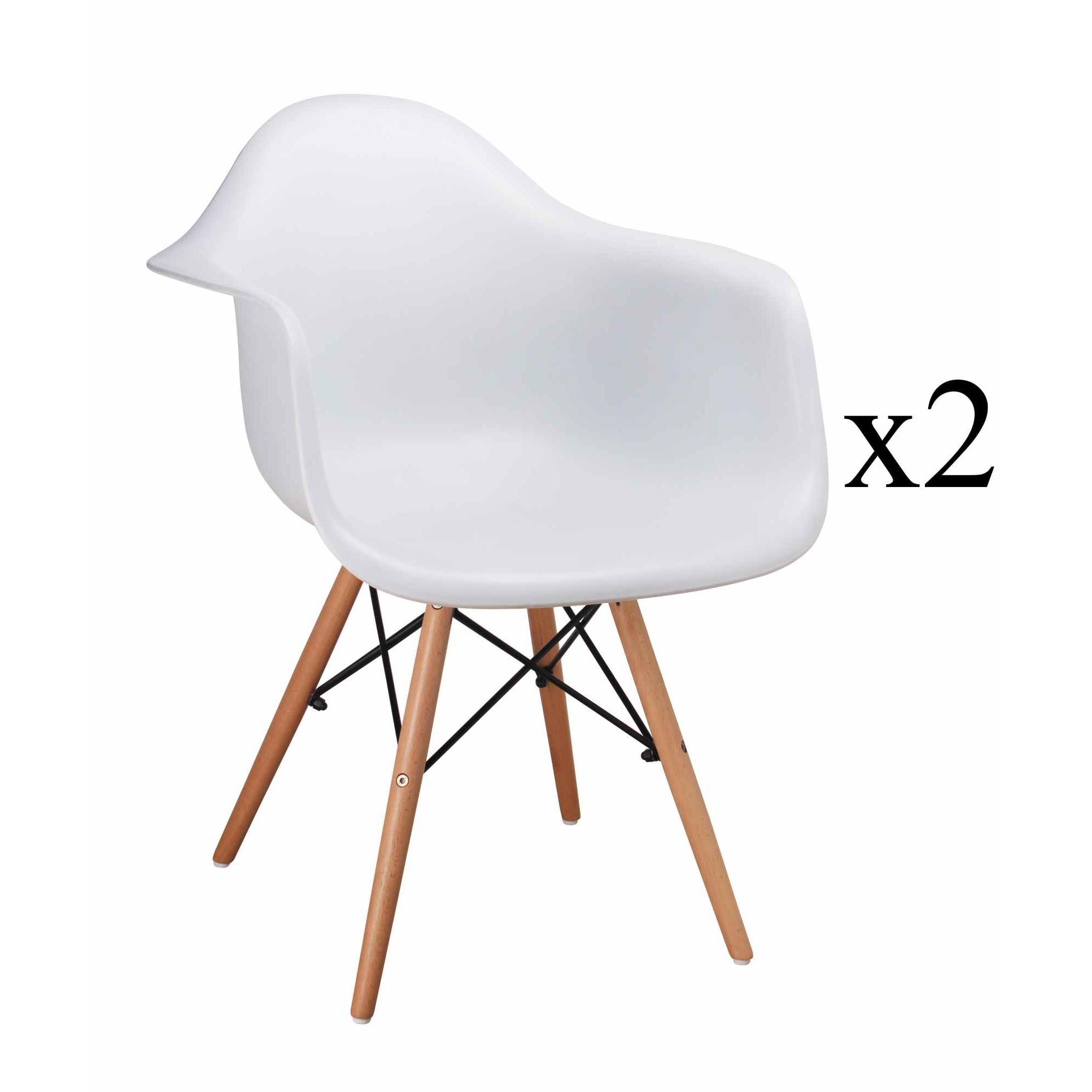 Deco in paris 2 lot de 2 chaises scandinaves blanches - Chaise confortable avec accoudoirs ...