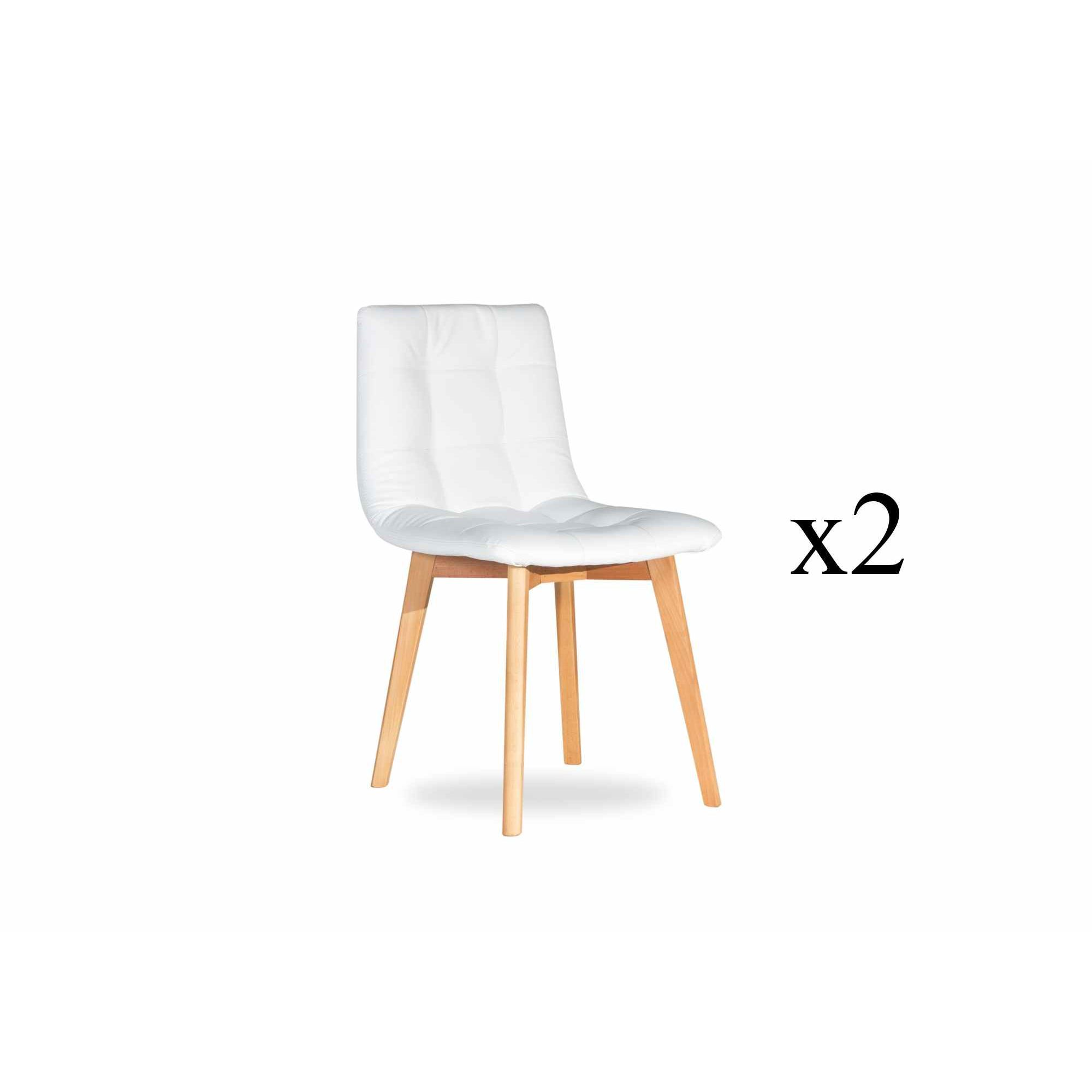 Deco in paris 1 lot de 2 chaises scandinave blanche fany for Chaises blanches scandinaves