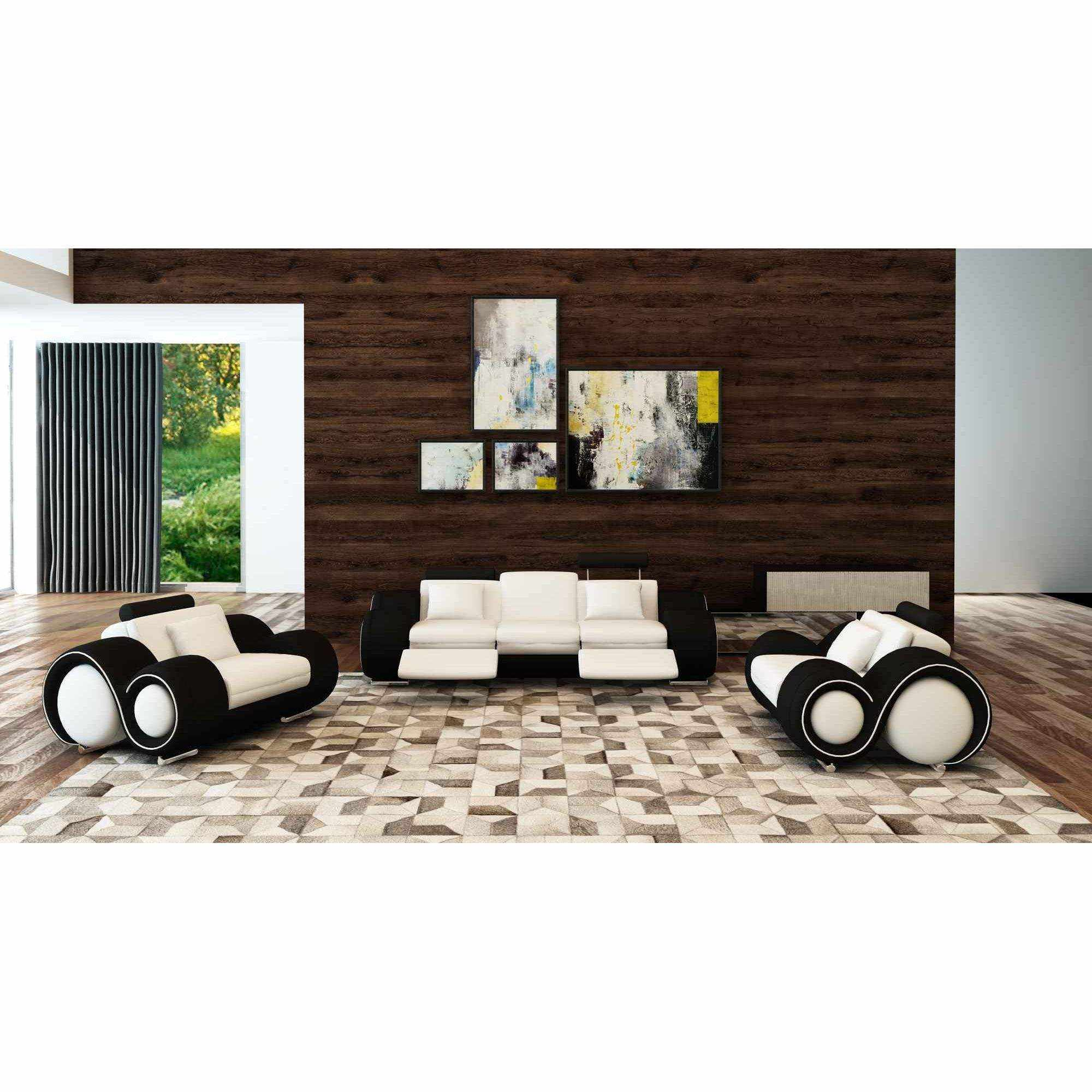 Deco in paris ensemble canape relax design 3 2 1 places - Canape design noir et blanc ...