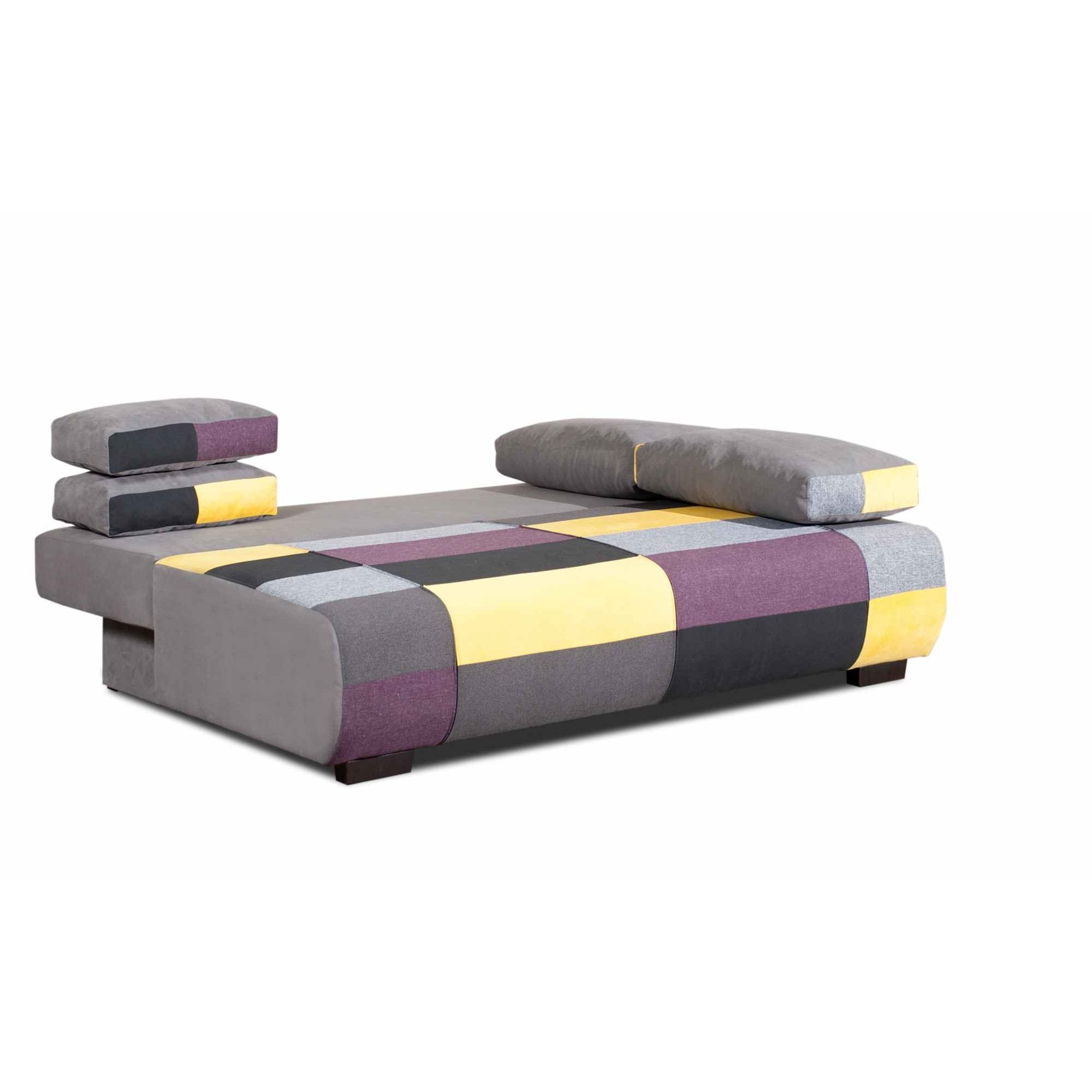 Deco in paris canape 3 places convertible en tissu jaune for Canape 3 places tissu