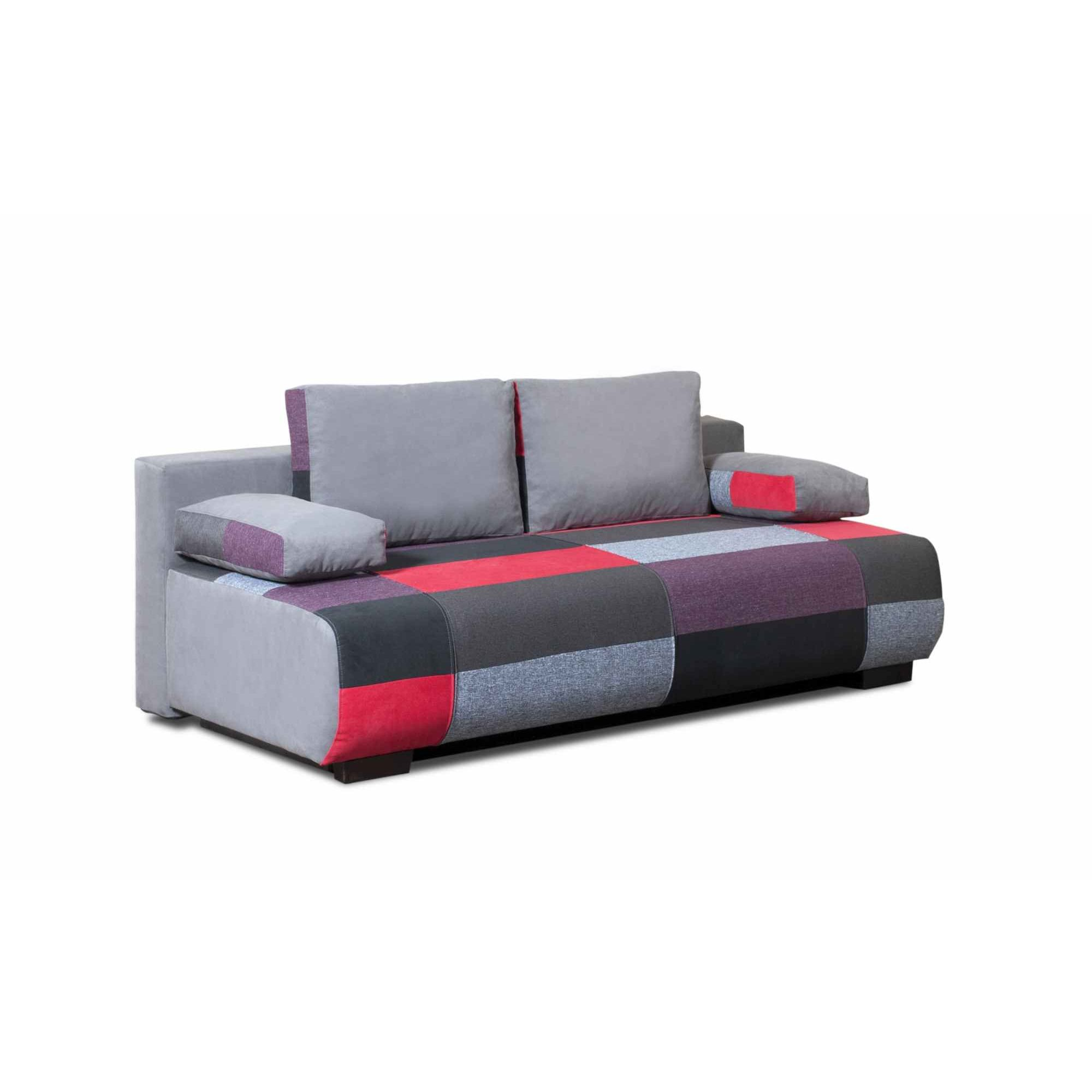 Deco in paris canape 3 places convertible en tissu rouge malte malte rouge - Canape convertible rouge ...