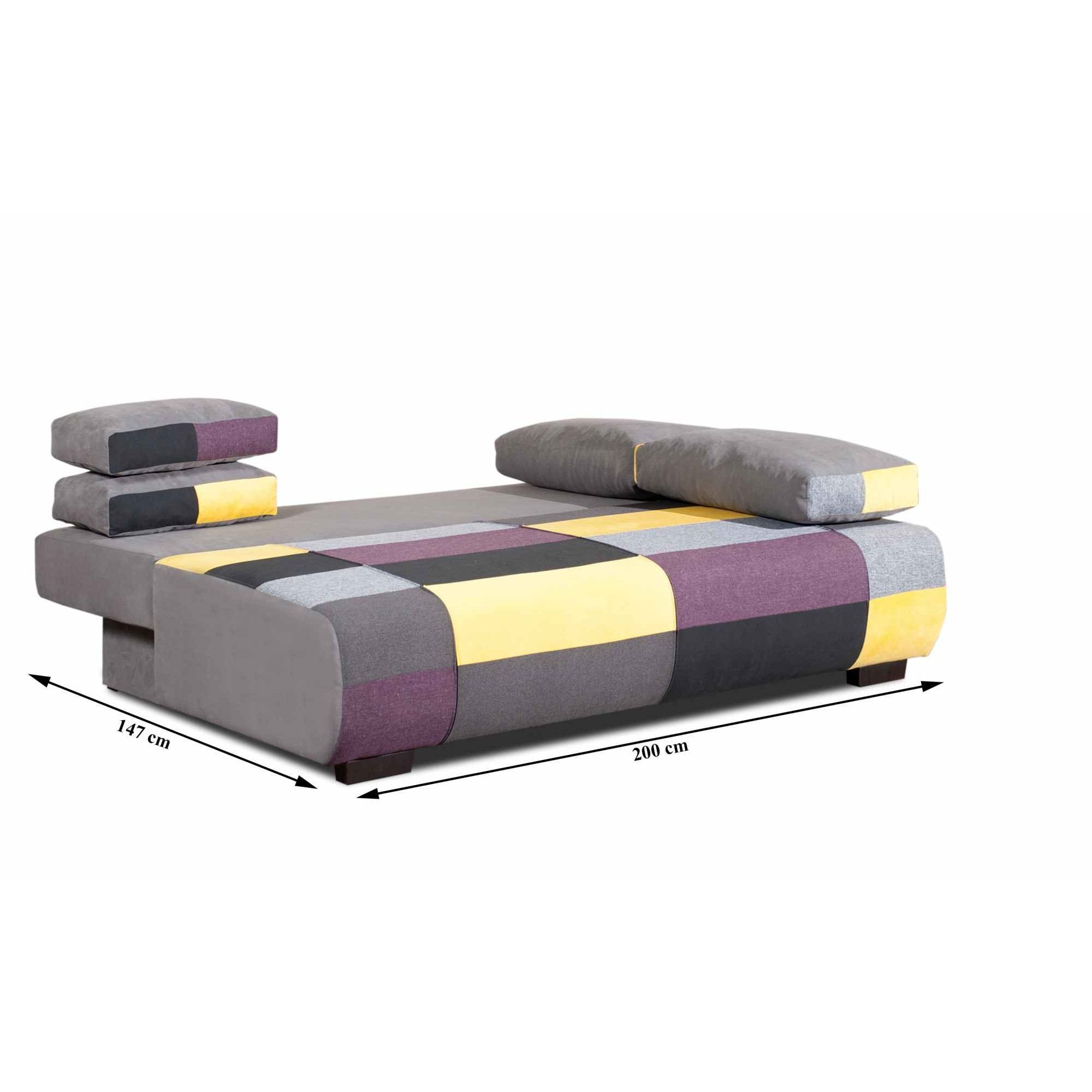 deco in paris canape 3 places convertible en tissu jaune. Black Bedroom Furniture Sets. Home Design Ideas