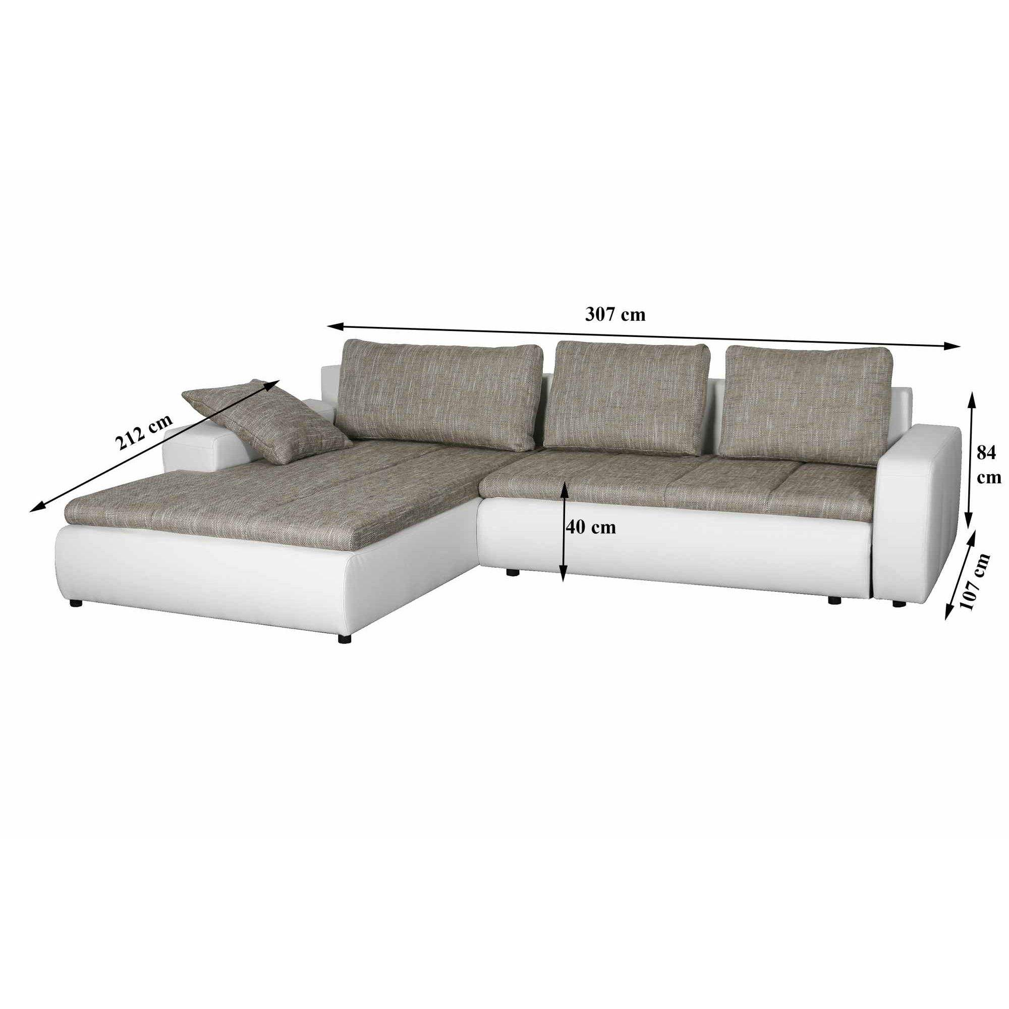 Deco in paris canape d angle convertible beige et blanc design joya joya be - Canape angle convertible design ...