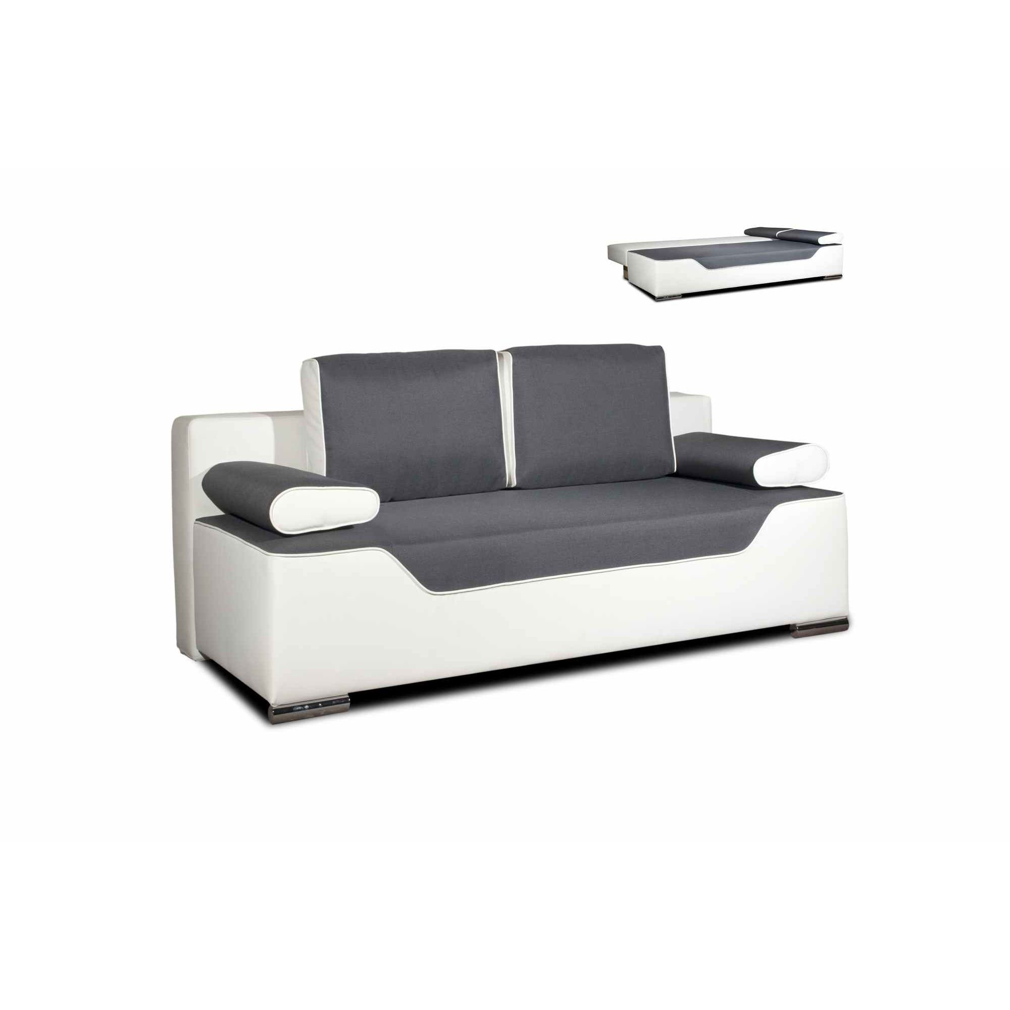 deco in paris canape 3 places convertible gris et blanc. Black Bedroom Furniture Sets. Home Design Ideas