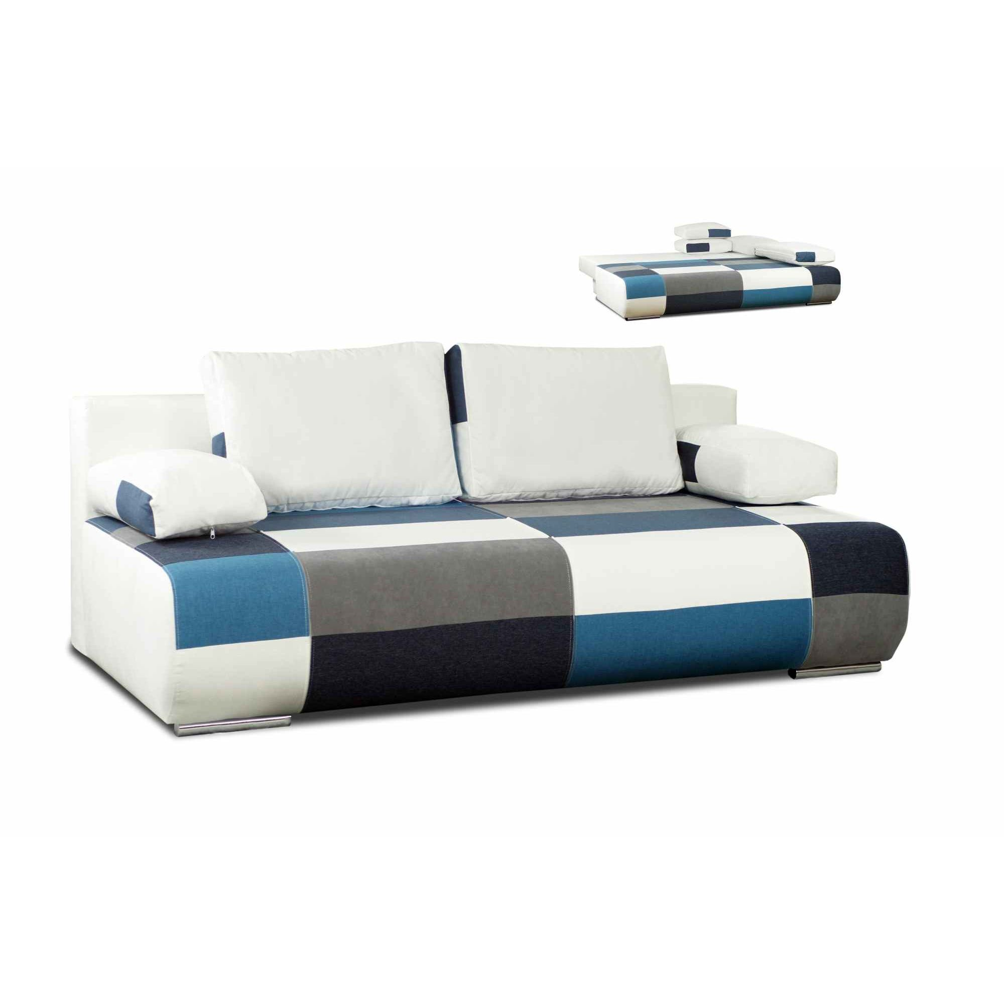 deco in paris canape 3 places convertible design en tissu bleu malte malte bleu. Black Bedroom Furniture Sets. Home Design Ideas