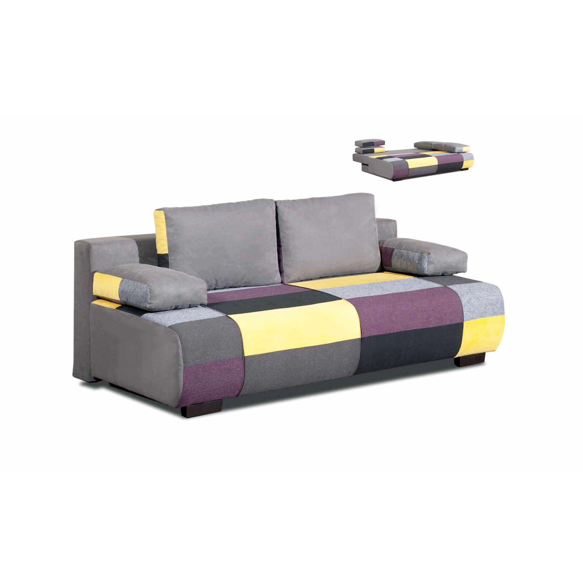 Deco in paris canape 3 places convertible en tissu jaune for Canape tissu convertible