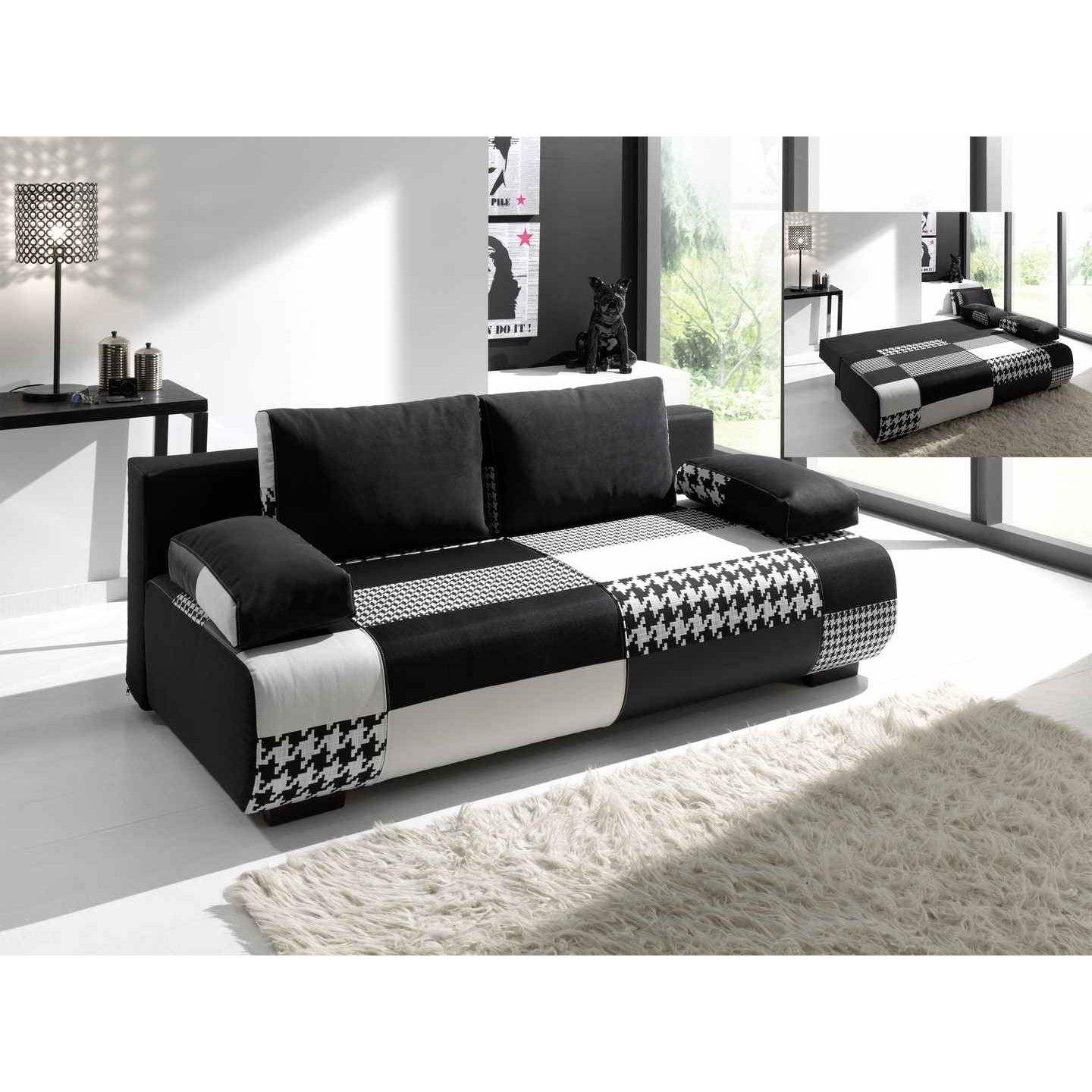 deco in paris canape 3 places convertible en tissu noir malte malte noir. Black Bedroom Furniture Sets. Home Design Ideas
