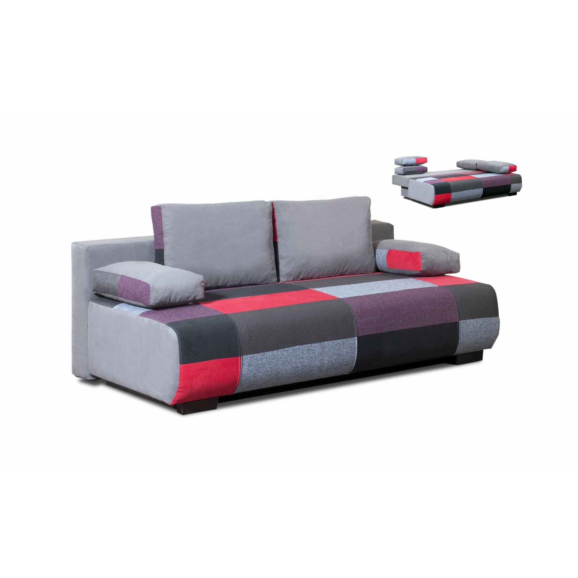 Deco in paris canape 3 places convertible en tissu rouge - Canape 3 places convertible ...