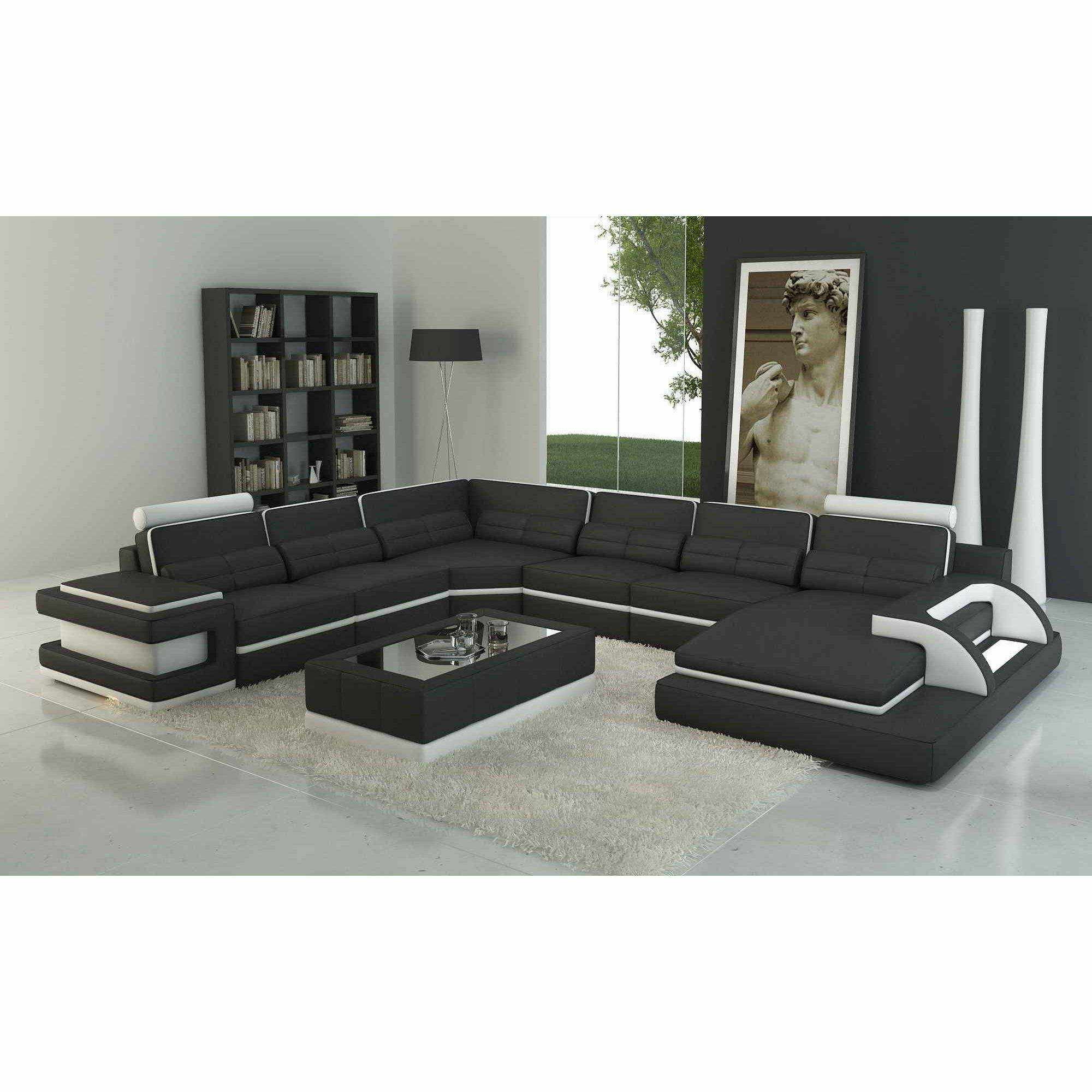 deco in paris canape panoramique cuir noir et blanc design avec lumiere ibiza panoramique. Black Bedroom Furniture Sets. Home Design Ideas
