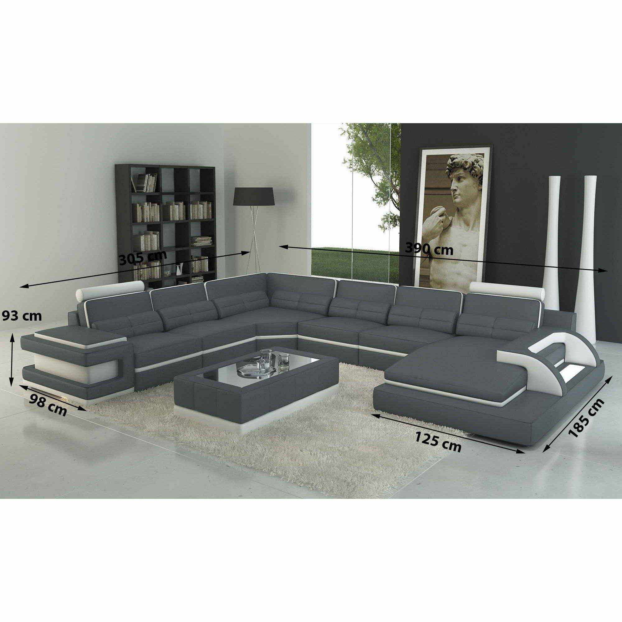 deco in paris canape panoramique cuir gris et blanc design avec lumiere ibiza panoramique. Black Bedroom Furniture Sets. Home Design Ideas