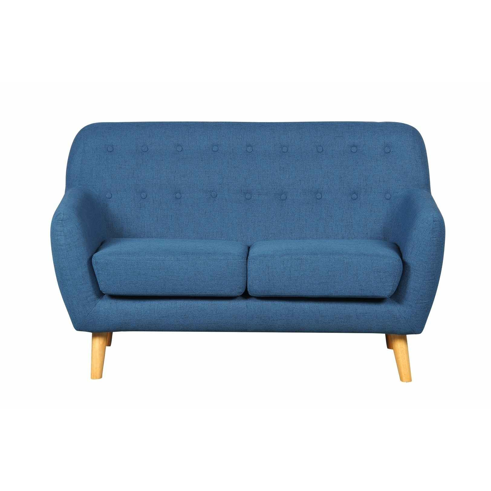 DECO IN PARIS - 1_canape Scandinave 2 Places Tissu Bleu Viky Viky 2pl Bleu