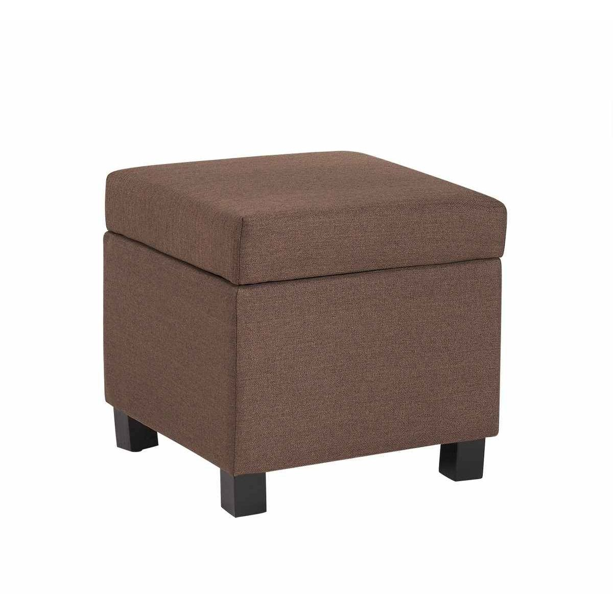 deco in paris pouf coffre de rangement tissu marron pola. Black Bedroom Furniture Sets. Home Design Ideas