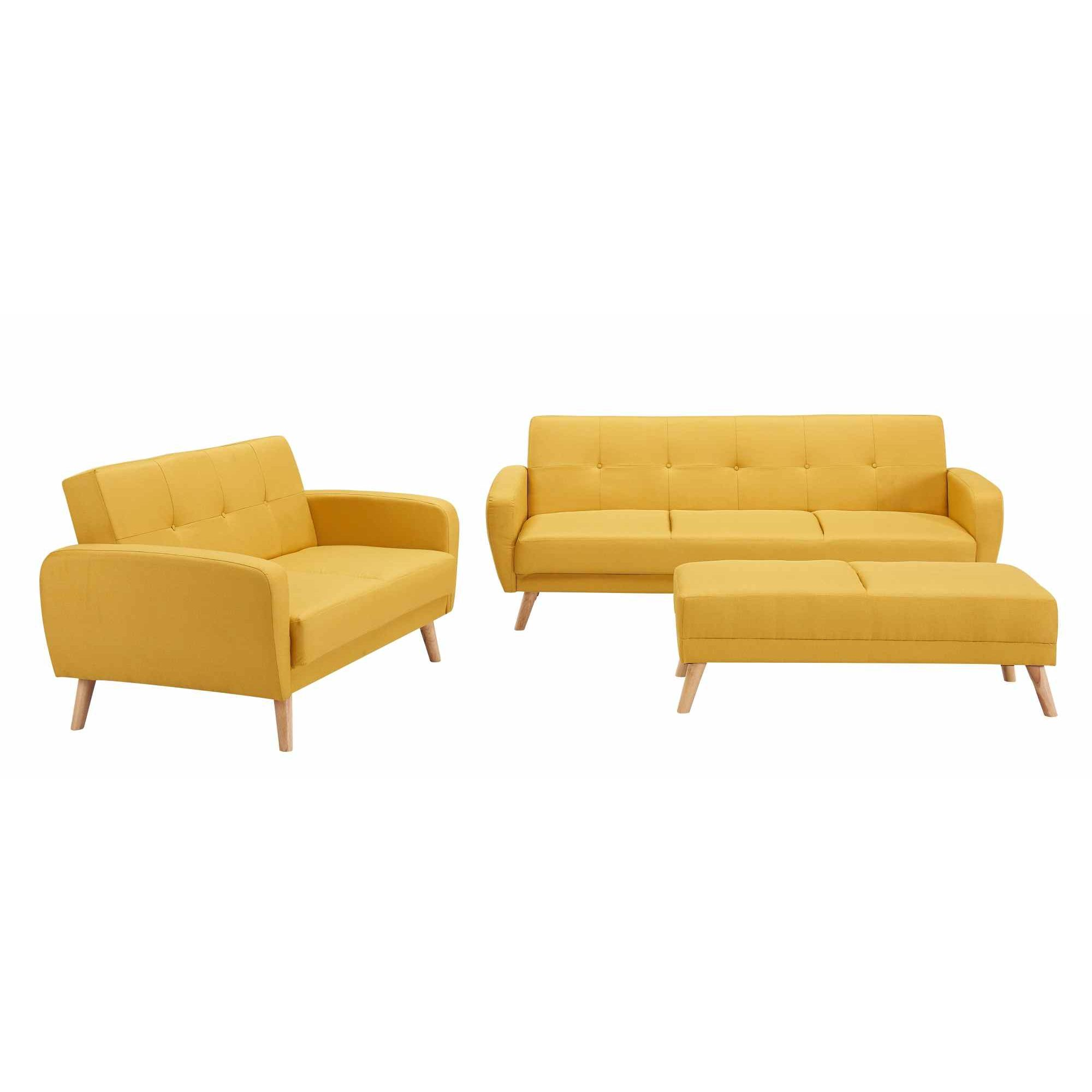 Deco canape jaune idees novatrices de la conception et for Canapé convertible scandinave pour noël decoration maison