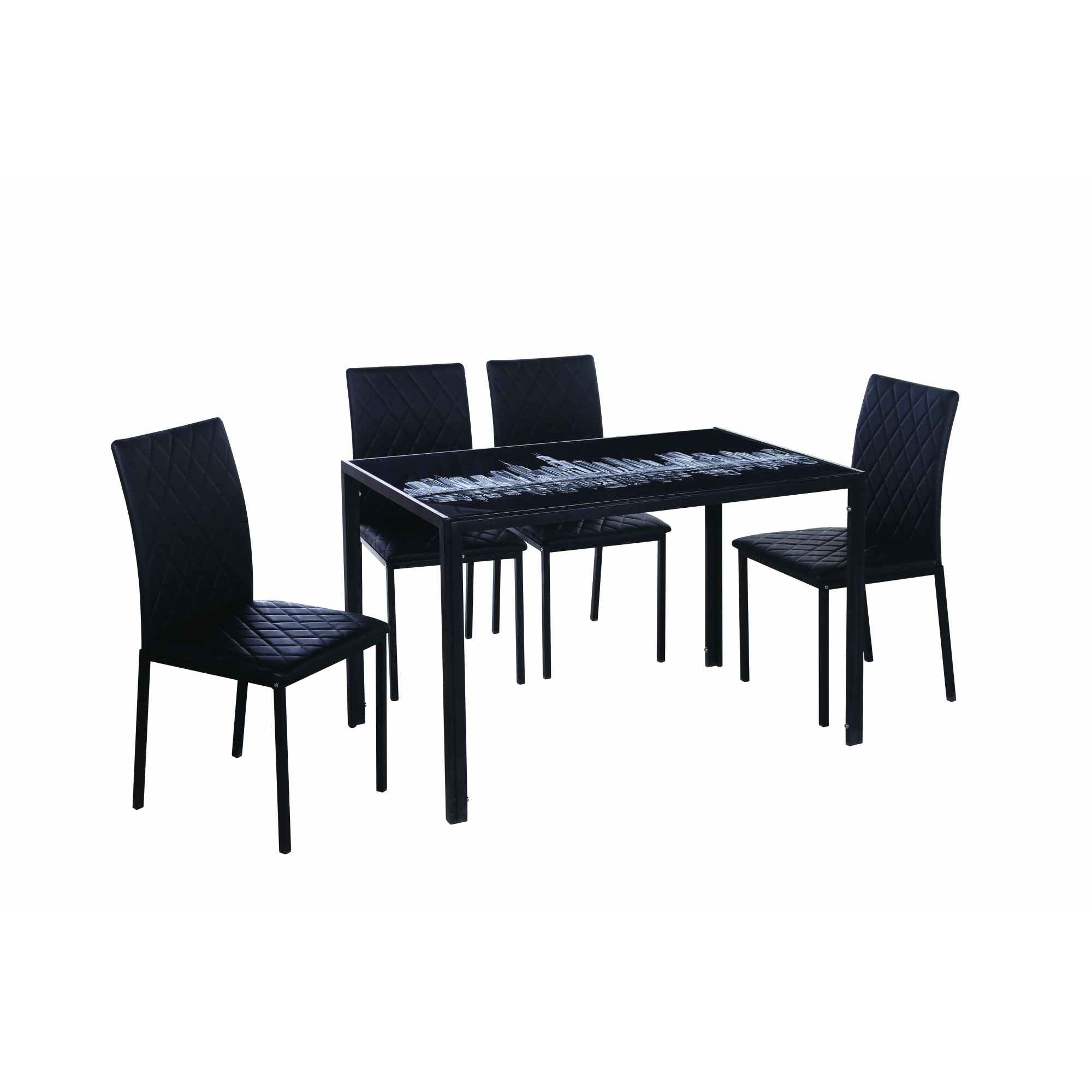 deco in paris 6 table a manger 4 chaises noir bulding table bulding 4chaise. Black Bedroom Furniture Sets. Home Design Ideas