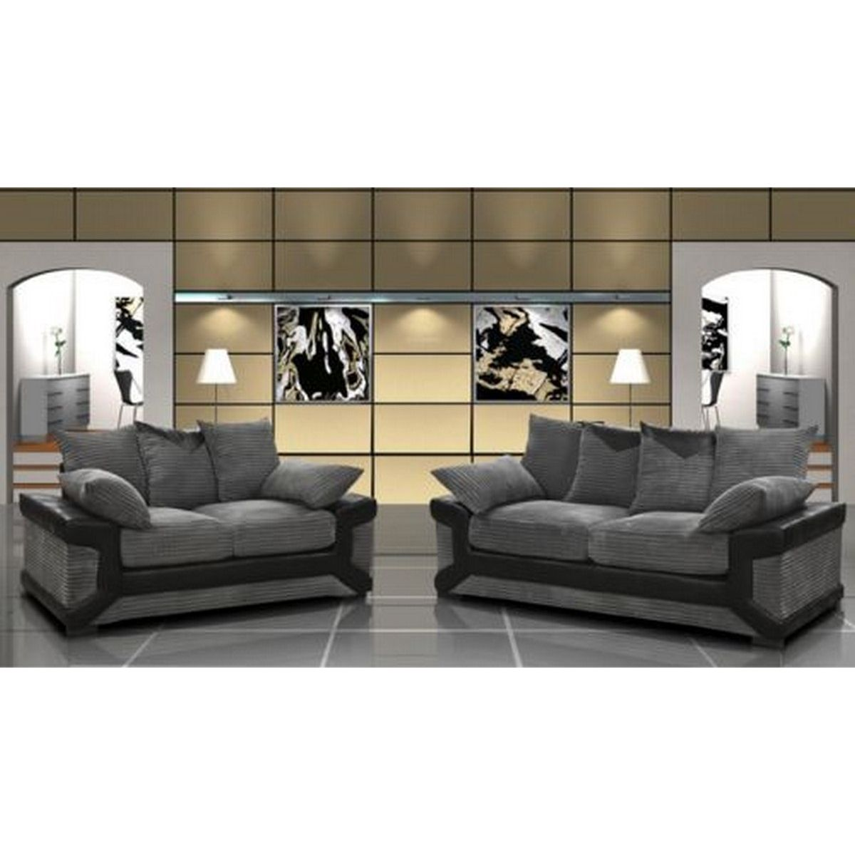 deco in paris 3 ensemble canape 3 2 places gris et noir diego diego 3 2 gris noir. Black Bedroom Furniture Sets. Home Design Ideas