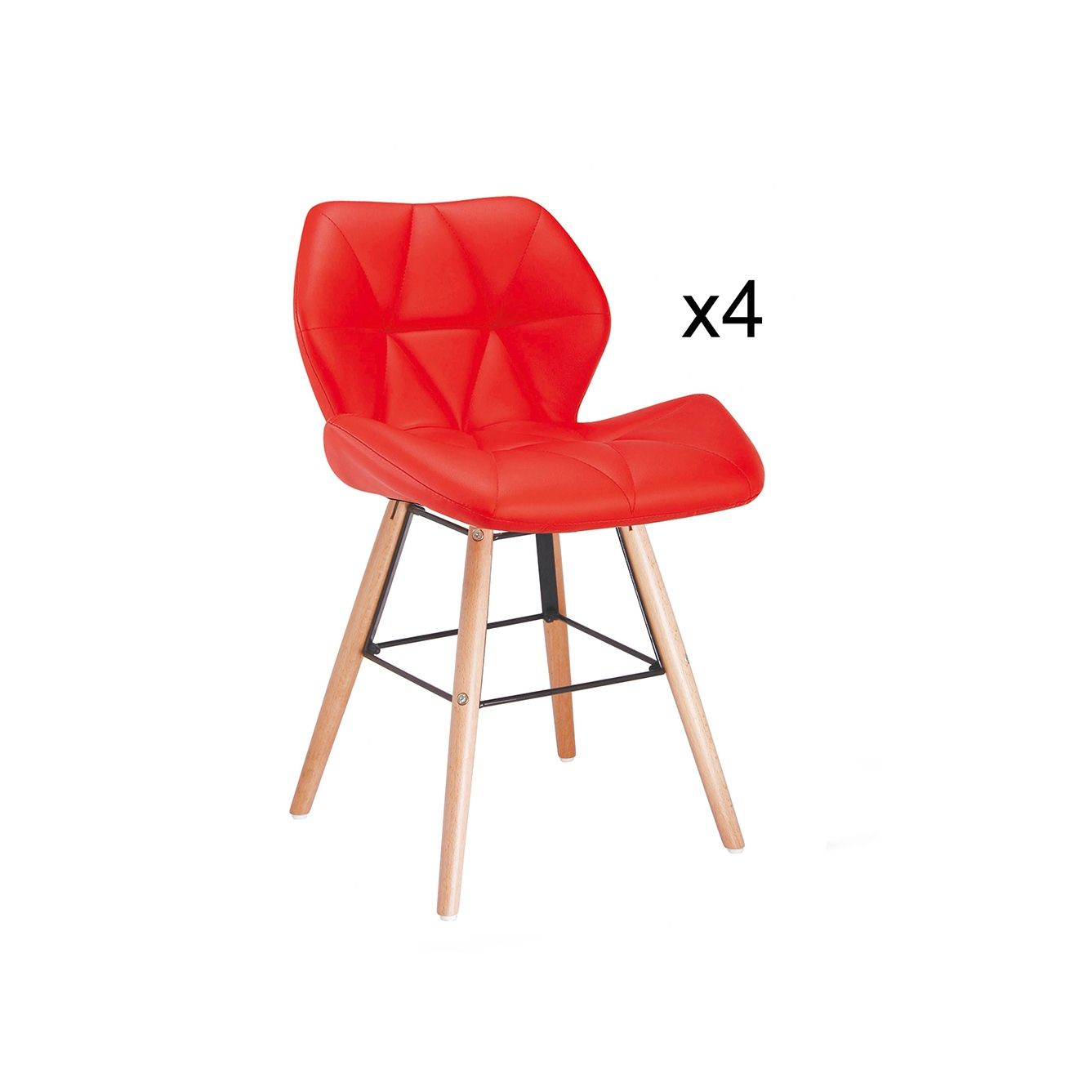 Lot de 4 chaises design Ophir Rouge