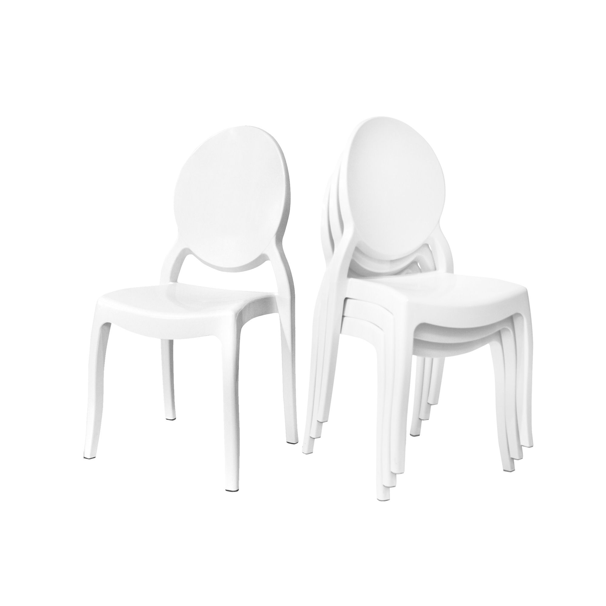 Lot De 4 Chaises Blanc En Polycarbonate TOLGA