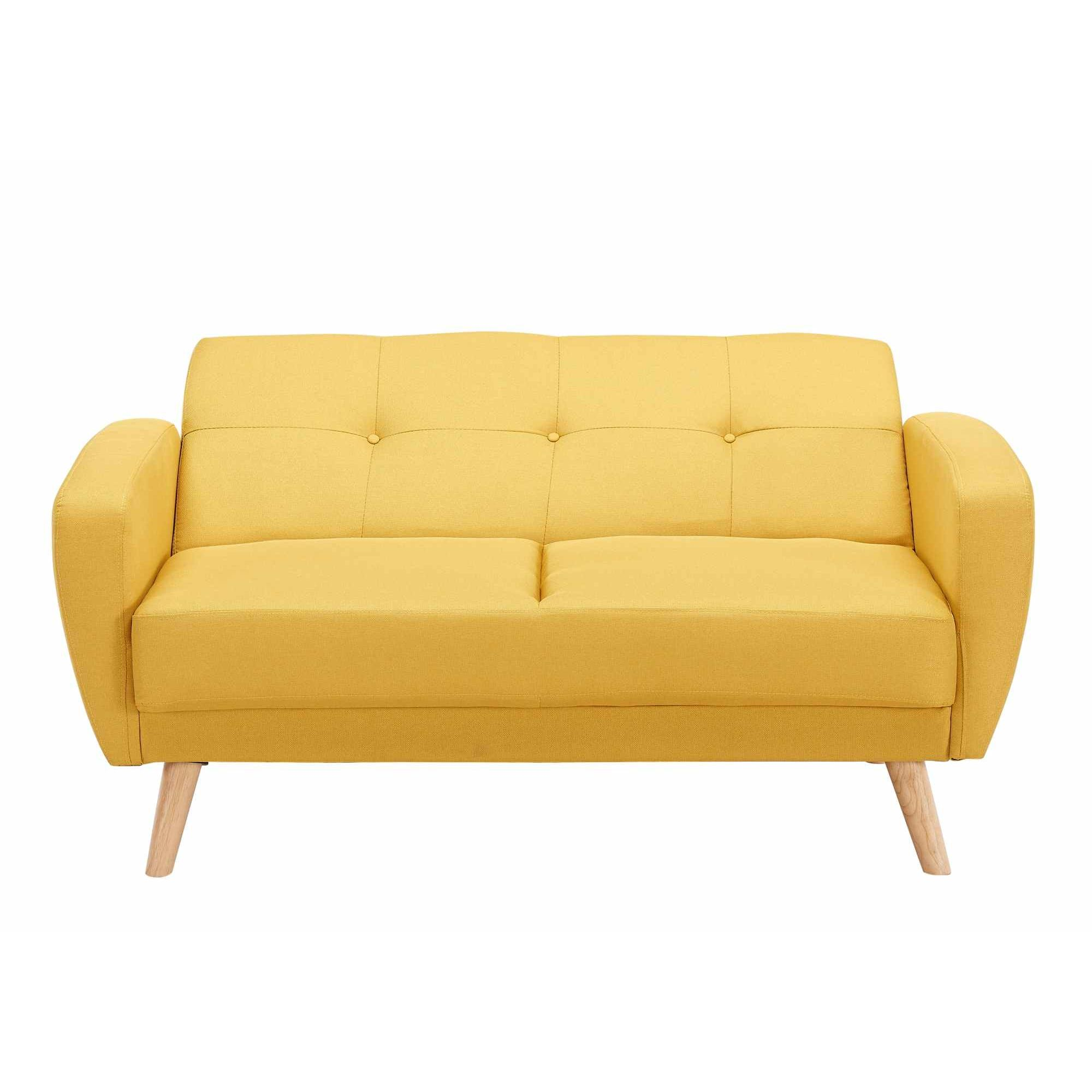 Canape convertible jaune maison design for Maison du monde royan