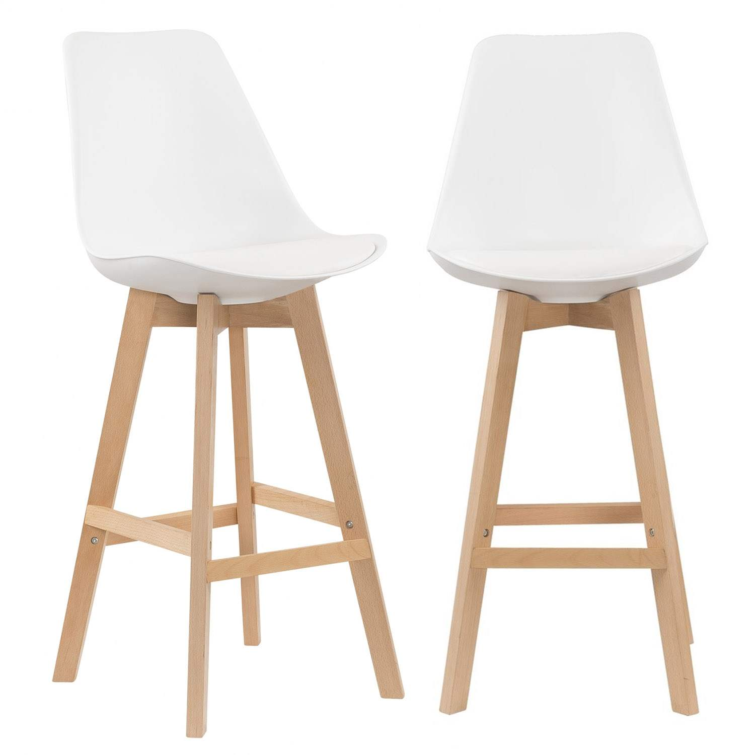 Deco in paris 5 lot de 2 tabourets de bar scandinave blanc gala tabouret ga - Chaise de bar blanche ...