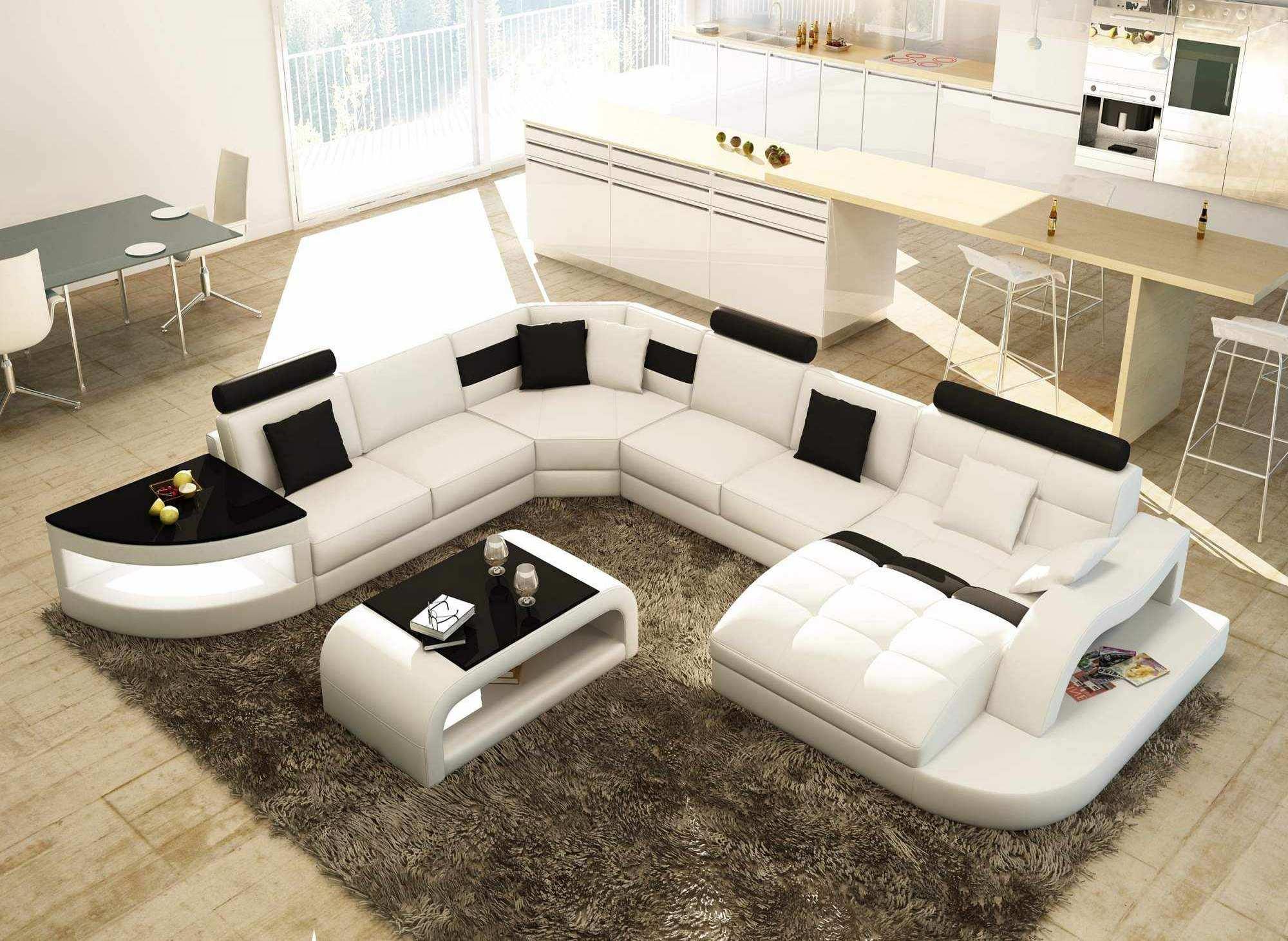 DECO IN PARIS - Canape d angle panoramique blanc et noir ...